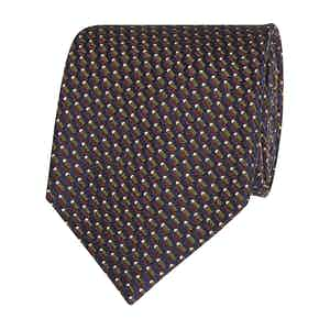 Blue, Purple and Green Patterned Silk Tie
