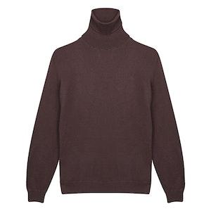 Plum Cashmere Roll Neck Sweater