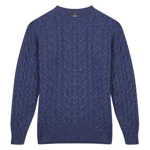 Blue Cashmere Cable Knit Round Neck Sweater