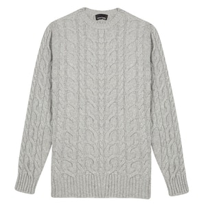Grey Cashmere Cable Knit Round Neck Sweater