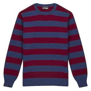 Navy and Maroon Merino Round Neck Sweater