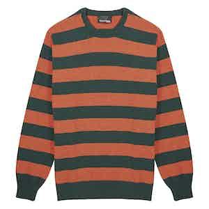 Orange and Green Merino Round Neck Sweater