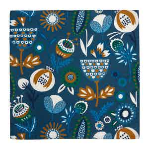 Blue, Green and Brown Silk Floral Alloro Pocket Square