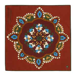 Brick Red and Blue Silk Floral Alloro Pocket Square