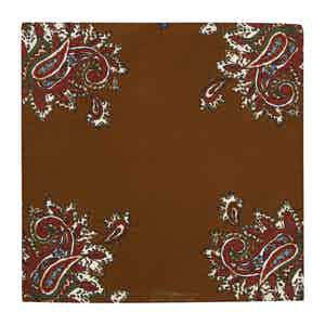 Brown and Blue Paisley Silk Alloro Pocket Square