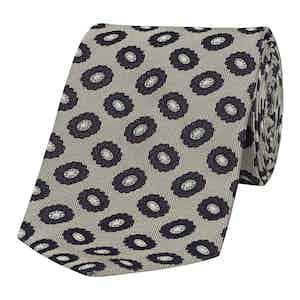 Grey Micro-Floral Basilico 5-Fold Silk Tie