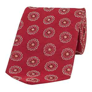 Red Daisy and Dot Patterned Silk Tie