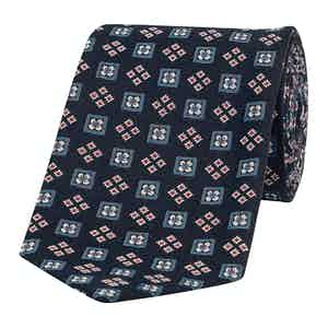 Navy Diamond-Floral Silk Basilico Tie