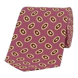 Pink Oval-Daisy Silk Basilico Tie