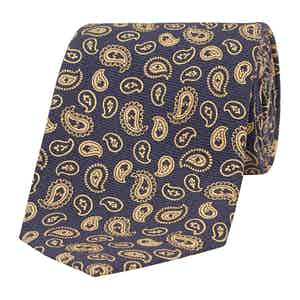 Sepia and Navy Paisley Silk Tie