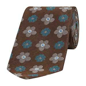 Brown and Turquoise Daisy Silk Tie