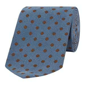 Blue and Chocolate Spotty Silk Tie