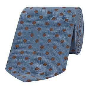 Blue and Chocolate Spotty Silk Tie