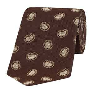 Brown and Sepia Paisley Petal Silk Tie