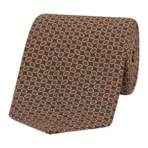 Brown, Beige and Grey Oval Patterned Silk Tie