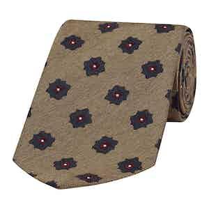 Mushroom Grey Floral Patterned Silk Tie