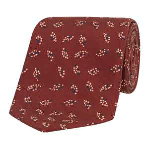 Red Dot Leaf Patterned Silk Tie