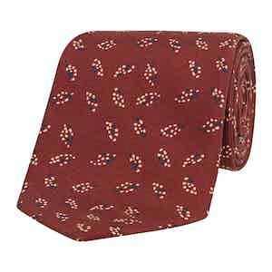 Red Dot Leaf Patterned Silk Tie
