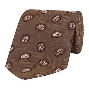 Brown and Burgundy Paisley Petal Silk Tie