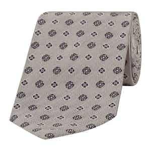 Grey-Blue Cross Patterned Silk Tie