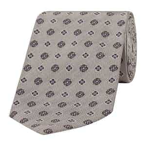 Grey-Blue Cross Patterned Silk Tie