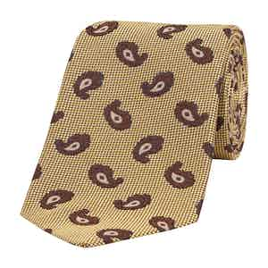 Yellow and Brown Dot Paisley Silk Tie