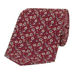 Dark Red and Blue Floral Silk Tie
