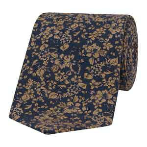 Navy and Sepia Floral-Print Silk Tie
