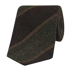 Brown, Mustard and Green Striped Wool-Silk Tie