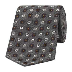 Grey, Navy and White Daisy Silk Tie