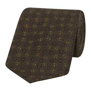 Brown and Gold Daisy Silk Tie
