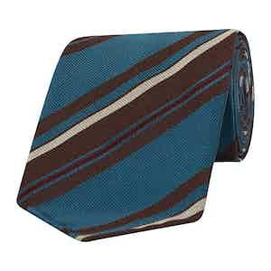 Teal and Brown Asymmetric Stripe Silk Tie