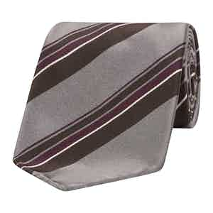 Grey, Burgundy and Brown Asymmetric Stripe Silk Tie