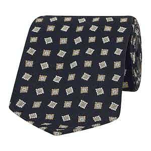 Navy, White and Gold Diamond Silk Tie