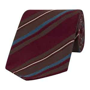 Blue, Burgundy and Brown Striped Silk Tie
