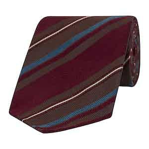 Blue, Burgundy and Brown Striped Silk Tie