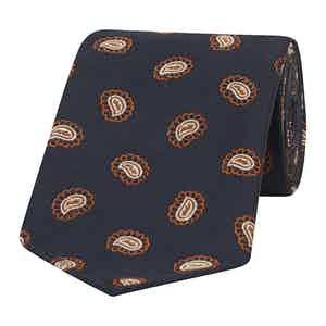 Navy and Orange Paisley Petals Silk Tie