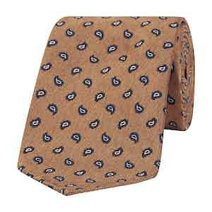 Orange and Navy Paisley Silk Tie