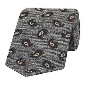 Grey and Brown Micro-Paisley Silk Tie