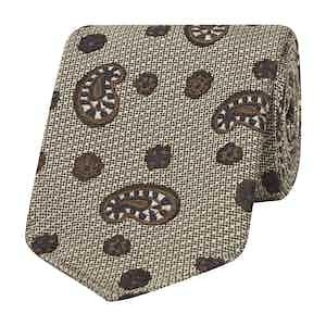 Brown, Navy and Cream Micro-Paisley Silk Tie