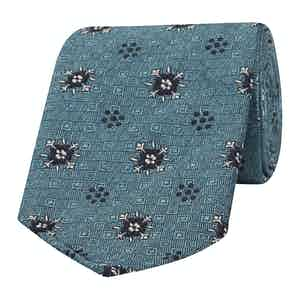 Turquoise Flower and Dot Patterned Silk Tie