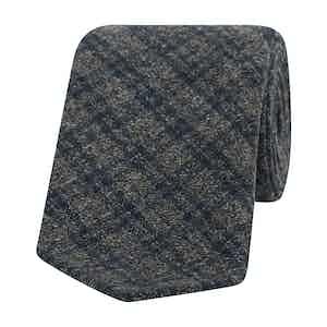 Grey-Blue Marl Check Wool Tie