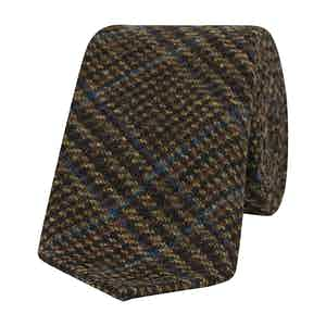 Blue and Brown Prince of Wales Check Wool Tie
