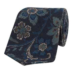 Blue and Light Brown Floral Silk Tie