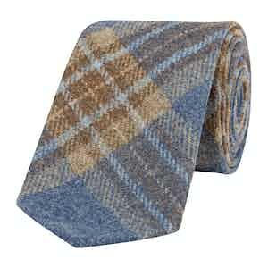 Grey and Light Blue Wool Tartan Tie