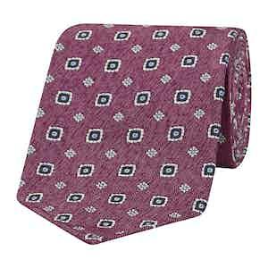 Rose Pink Diamond Patterned Silk Tie