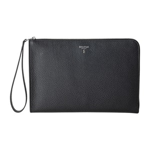 Black Cachemire Leather Pouch with Strap