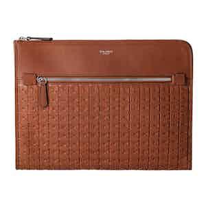 Cognac Brown Mosaico Leather Documents Folio