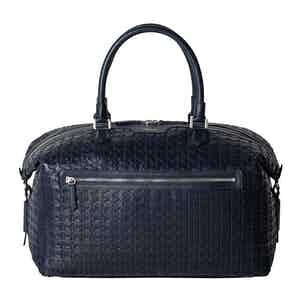Navy Blue Mosaico Leather Travel Bag