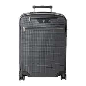 Grey Stepan Cotton and Black Leather Cabin Trolley